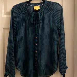 Anthropologie Maeve blue green blouse size M